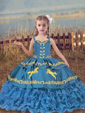 Ball Gowns Little Girls Pageant Gowns Blue Straps Organza Sleeveless Floor Length Lace Up