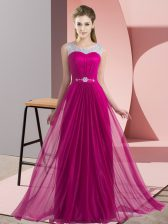 Fuchsia Sleeveless Floor Length Beading Lace Up Quinceanera Court of Honor Dress
