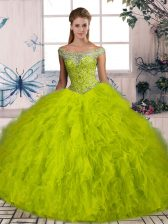 Sleeveless Brush Train Beading and Ruffles Lace Up Quinceanera Gowns
