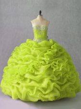 Delicate Yellow Green Sweetheart Lace Up Beading and Pick Ups and Hand Made Flower Quinceanera Dresses Sleeveless
