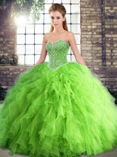 Most Popular Sweetheart Sleeveless Quinceanera Dress Floor Length Beading and Ruffles Tulle
