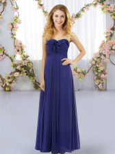 Sleeveless Floor Length Ruffles Lace Up Quinceanera Court of Honor Dress with Royal Blue