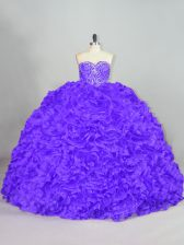 Sumptuous Fabric With Rolling Flowers Sleeveless Sweet 16 Dress Court Train and Beading
