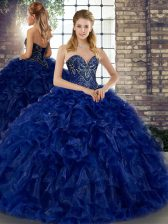 Romantic Royal Blue Ball Gowns Sweetheart Sleeveless Organza Floor Length Lace Up Beading and Ruffles Vestidos de Quinceanera