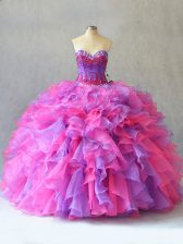 Fantastic Sweetheart Sleeveless Lace Up Quinceanera Gown Multi-color Organza