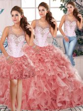 Attractive Watermelon Red Scoop Neckline Beading and Ruffles 15th Birthday Dress Sleeveless Clasp Handle