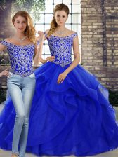 Royal Blue Sleeveless Tulle Brush Train Lace Up 15th Birthday Dress for Military Ball and Sweet 16 and Quinceanera