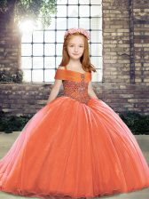 Best Orange Red Lace Up Straps Beading Kids Formal Wear Tulle Sleeveless