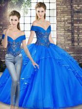 Exceptional Royal Blue Two Pieces Tulle Off The Shoulder Sleeveless Beading and Ruffles Floor Length Lace Up Sweet 16 Dress