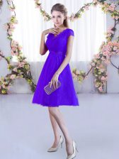 Hot Selling Cap Sleeves Lace Up Mini Length Lace Damas Dress