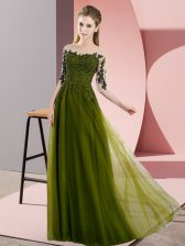 Gorgeous Olive Green Lace Up Court Dresses for Sweet 16 Beading and Lace Half Sleeves Floor Length