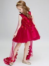 Adorable Sleeveless Hand Made Flower Lace Up Toddler Flower Girl Dress with Wine Red Watteau Train