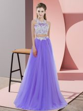Halter Top Sleeveless Zipper Damas Dress Lavender Tulle