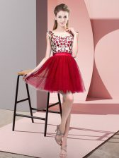 Fitting Wine Red Damas Dress Wedding Party with Lace Bateau Sleeveless Zipper