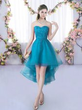 High Low Lace Up Quinceanera Court Dresses Teal for Wedding Party with Lace