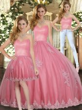 Watermelon Red Tulle Lace Up Sweet 16 Dresses Sleeveless Floor Length Appliques