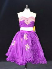 Mini Length Zipper Prom Evening Gown Eggplant Purple for Prom and Party with Appliques and Ruffles