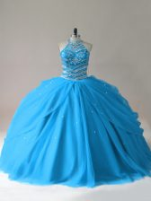Baby Blue Sleeveless Tulle Lace Up Sweet 16 Quinceanera Dress for Sweet 16 and Quinceanera