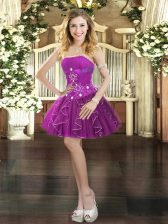 Elegant Ball Gowns Prom Party Dress Purple Strapless Tulle Sleeveless Mini Length Lace Up