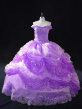 Clearance Beading and Appliques and Sequins Sweet 16 Dress Lavender Lace Up Sleeveless