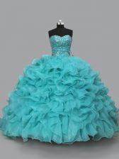Trendy Aqua Blue Organza Lace Up 15th Birthday Dress Sleeveless Beading and Ruffles