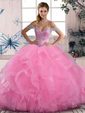 Glittering Rose Pink Sleeveless Beading and Ruffles Floor Length Quinceanera Dress