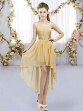 Admirable Gold Lace Up Quinceanera Dama Dress Beading Sleeveless High Low