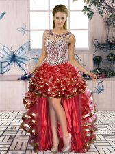 Eye-catching Red Organza Lace Up Dress for Prom Sleeveless High Low Beading and Ruffled Layers