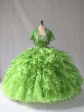 Hot Selling Sleeveless Beading and Ruffles Lace Up Quinceanera Dresses