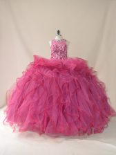 Admirable Tulle Scoop Sleeveless Brush Train Lace Up Beading and Ruffles Sweet 16 Quinceanera Dress in Burgundy