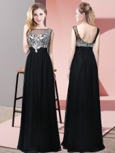 Sleeveless Floor Length Beading Backless Prom Dress with Black