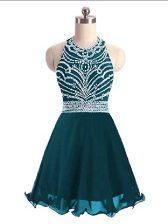 Teal Chiffon Lace Up Halter Top Sleeveless Mini Length Prom Party Dress Beading
