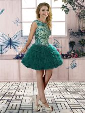 Super Organza Scoop Sleeveless Lace Up Embroidery and Ruffles Dress for Prom in Dark Green