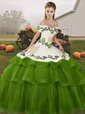 High Quality Sleeveless Brush Train Lace Up Embroidery and Ruffled Layers 15 Quinceanera Dress