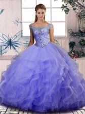 Lavender Sleeveless Floor Length Beading and Ruffles Lace Up Ball Gown Prom Dress