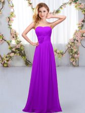 Ideal Purple Sweetheart Neckline Hand Made Flower Quinceanera Court of Honor Dress Sleeveless Lace Up