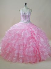 Delicate Baby Pink Ball Gowns Embroidery and Ruffled Layers Quinceanera Dresses Lace Up Organza Sleeveless Floor Length