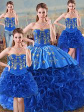 Royal Blue Ball Gowns Fabric With Rolling Flowers Sweetheart Sleeveless Embroidery and Ruffles Floor Length Lace Up Sweet 16 Dresses
