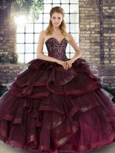 Best Selling Floor Length Burgundy Quinceanera Gowns Sweetheart Sleeveless Lace Up