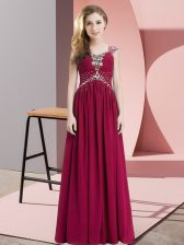 Floor Length Fuchsia Straps Cap Sleeves Lace Up