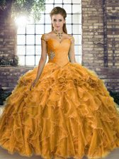 Modest Gold Sleeveless Organza Brush Train Lace Up 15 Quinceanera Dress for Military Ball and Sweet 16 and Quinceanera