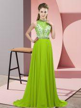 Sleeveless Brush Train Backless Beading Prom Dress