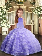 Halter Top Sleeveless Little Girl Pageant Dress Floor Length Beading and Ruffled Layers Lavender Organza