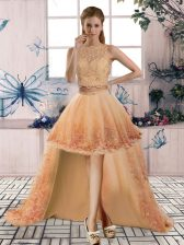 Nice Gold Sleeveless Tulle Backless Dress for Prom for Prom and Party