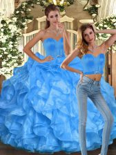 Extravagant Floor Length Ball Gowns Sleeveless Baby Blue Vestidos de Quinceanera Lace Up