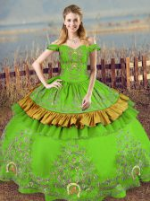 Spectacular Green Sleeveless Floor Length Embroidery Lace Up Sweet 16 Dress