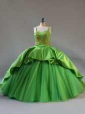 Straps Sleeveless Court Train Lace Up Sweet 16 Dresses Green Satin and Tulle