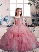 Organza Off The Shoulder Sleeveless Lace Up Beading and Ruffles Little Girl Pageant Gowns in Pink