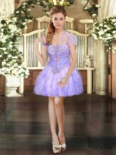 Elegant Lavender Organza Lace Up Dress for Prom Sleeveless Mini Length Beading and Lace and Ruffles