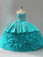 Best Sleeveless Fabric With Rolling Flowers Brush Train Lace Up Vestidos de Quinceanera in Aqua Blue with Embroidery and Ruffles